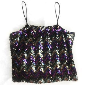Vintage Multi-Colored Sequin Crop Top